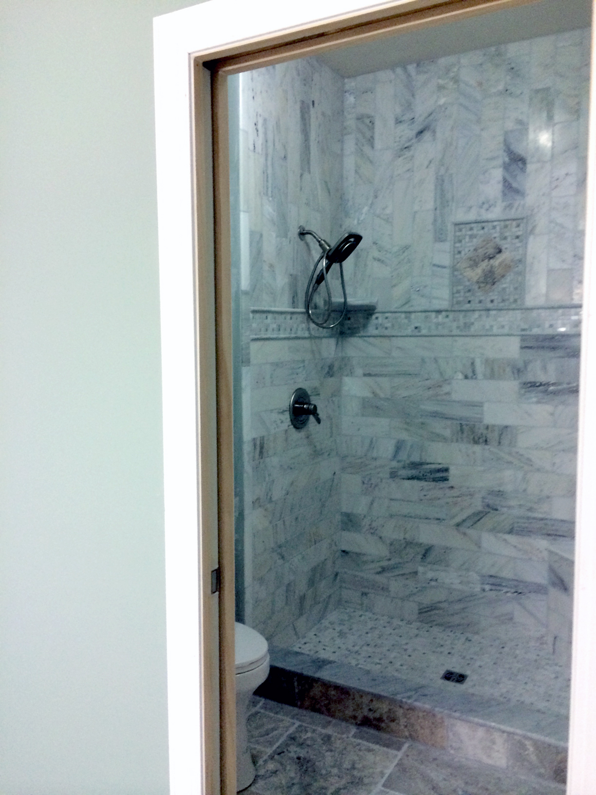 Gray-Green Tile Shower with Glass – Complete Custom Tiling