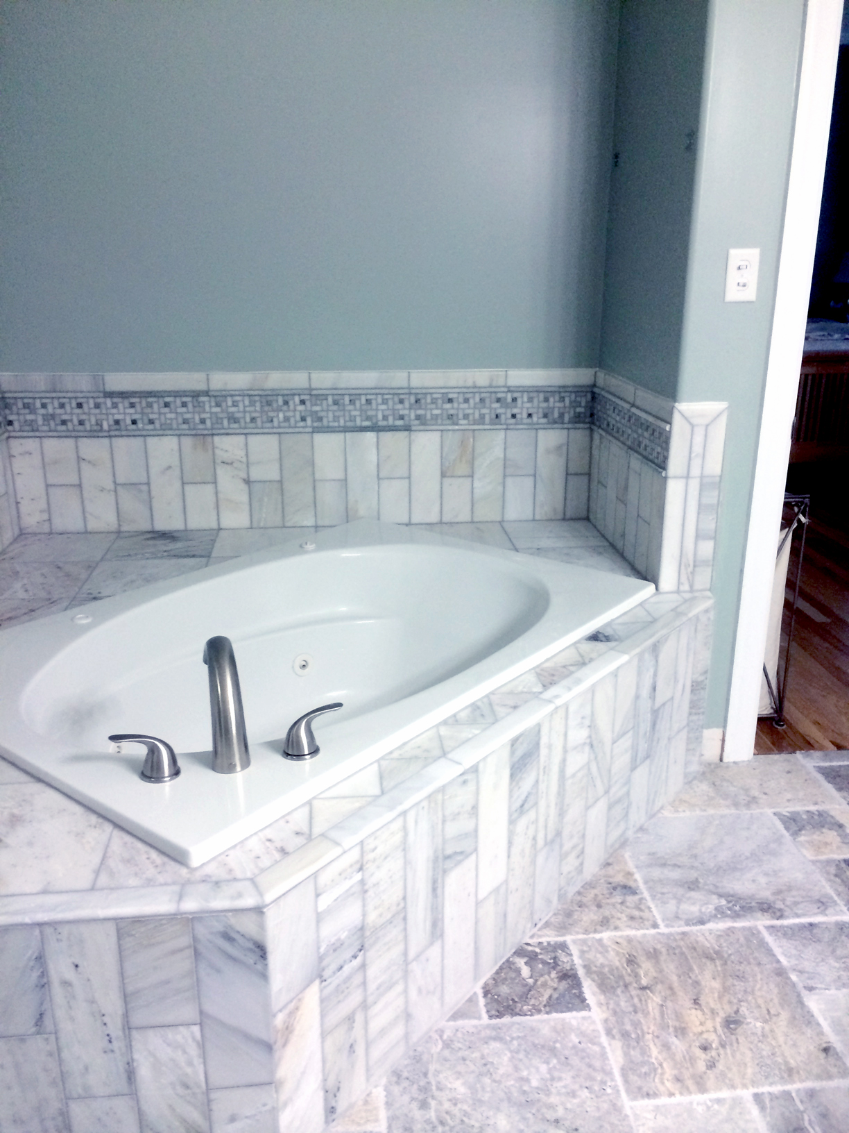 Gray-Green Tile Shower – Complete Custom Tiling