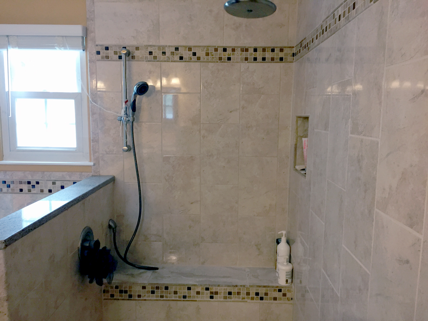 Gray Square Tile Bathroom Shower Interior – Complete Custom Tiling