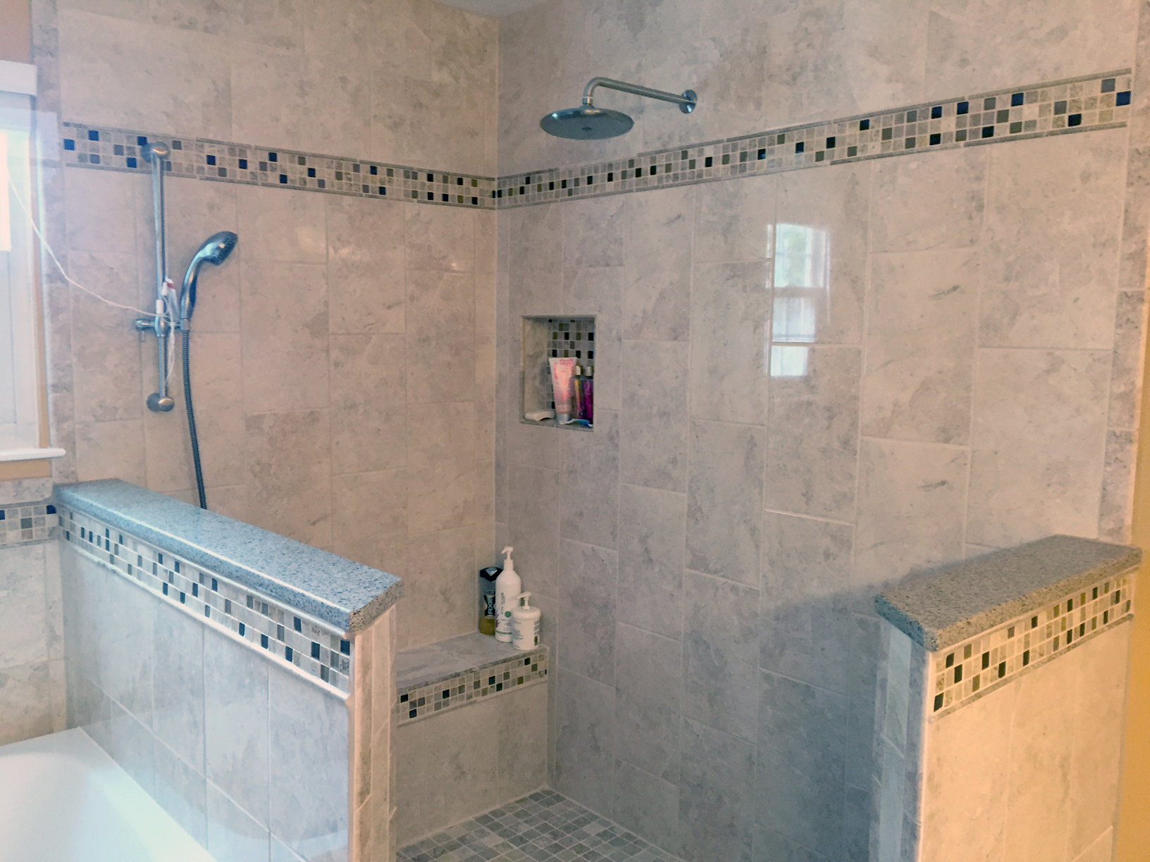 Gray Square Tile Shower And Tub Complete Custom Tiling