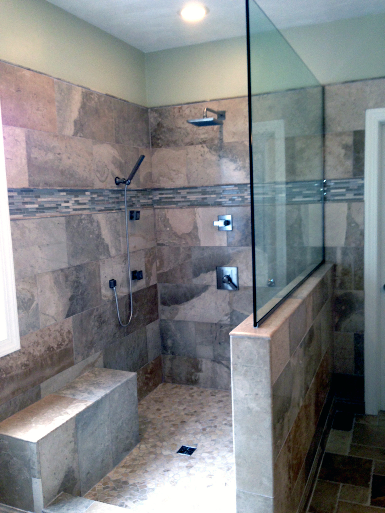 Stone Shower with Glass – Complete Custom Tiling