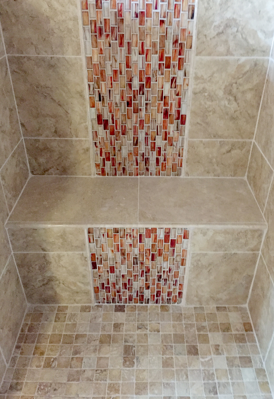 Vertical Red Tile Shower Seat – Complete Custom Tiling
